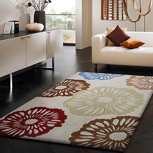 Luxurious superior quality area rug, Hand Tufted , Floral Decor, Beige, Cofee Brown, Brass, Blue, Soft and Fuzzy rug, Available Sizes: 2' X 3', 5' X 7', 8' X 11'