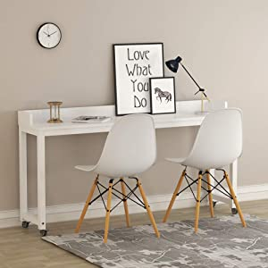 Overbed Table with Wheels, Tribesigns 70.8'' Queen Size Mobile Desk with Heavy-Duty Metal Legs, Works as Pub Table, Counter Height Dining Table or Computer Table Desk, Super Sturdy and Stable (White) (Color: White)