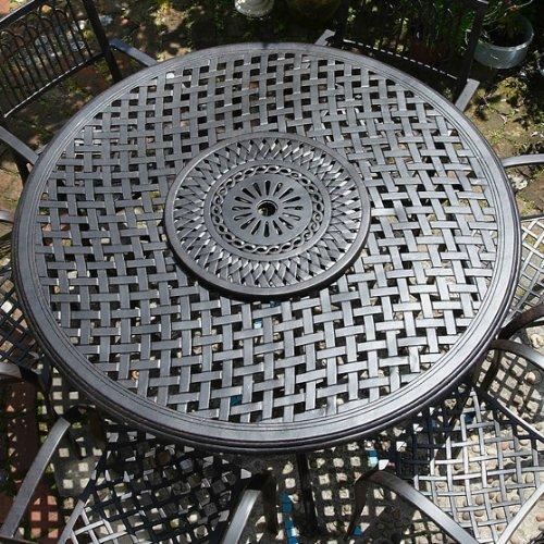Valerie 150cm Rundes Gartenmöbelset Aluminium – 1 VALERIE Tisch + 6 ROSE Stühle kaufen