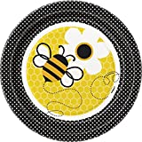 """Unique 7"""" Bumble Bee Dessert Plates (8 Count), Yellow"""
