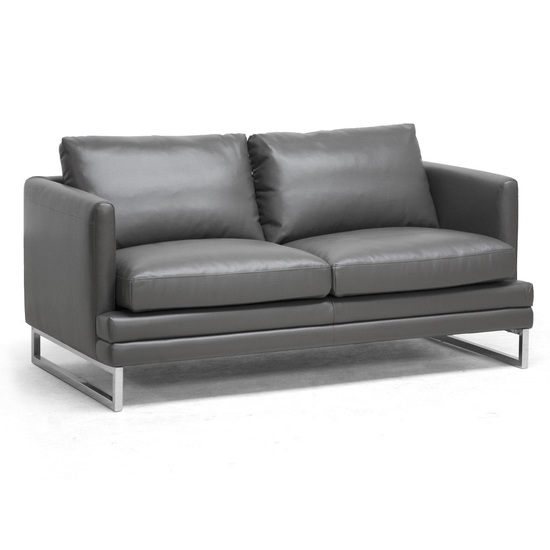 Baxton Studio Dakota Leather Modern Loveseat - Pewter Gray