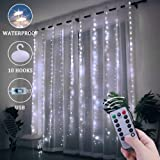 Window Curtain String Lights, 300 LED USB Powered String Lights, 8 Lighting Modes Waterproof Decorative Lights for Bedroom Wedding Party Backdrop Outdoor Indoor Wall Decoration(9.8x9.8 Ft) (Color: Cool white)