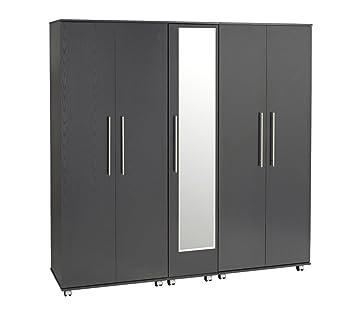 Treat Your Home Brandy 5 Door Wardrobe Plus Mirror, Wood, Black