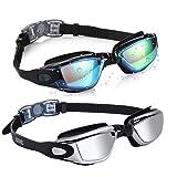 Aegend Swim Goggles 2 Pack Swimming Goggles (Color: 04(Black Mirrored Lenses&Black Silver Lenses))