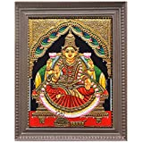 Traditional Tanjore Art Dhanalakshmi Painting (15 In X 13 In X 2 In, DLKS31)