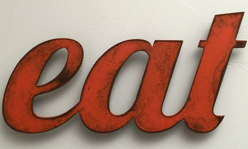 11 inch long eat metal wall art word - Handmade - Choose your patina color	 4