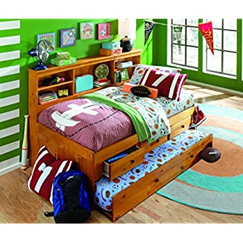 Discovery World Furniture Twin Bookcase Daybed with 3 Drawers and Twin Trundle, Honey