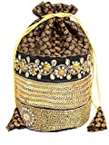 GiftPiper Embroidered Stone Work Potli-Black&Gold