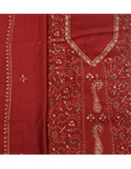 Exotic India Rosewood Tusha Salwar Kameez Fabric From Kashmir With Needle- - Red
