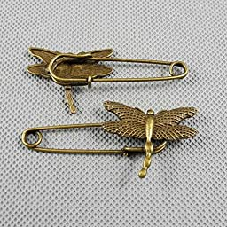 40 PCS Jewelry Making Charms Findings Supply Supplies Crafting Lots Bulk Wholesale Antique Bronze Tone Plated 96664 Dragonfly Safety Pins Brooch