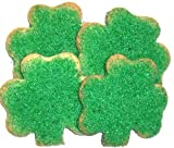 Scott's Cakes 1 lb. Shamrock Cookies with 2 Shades of Green Sugar in a Decorative Tray with Krinkle Paper