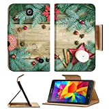 Luxlady Premium Samsung Galaxy Tab 4 7.0 Inch Flip Pu Leather Wallet Case IMAGE ID: 38551989 Christmas decorations fur tree branches colorful glass balls a candle red glittering snowflacke cinnamon