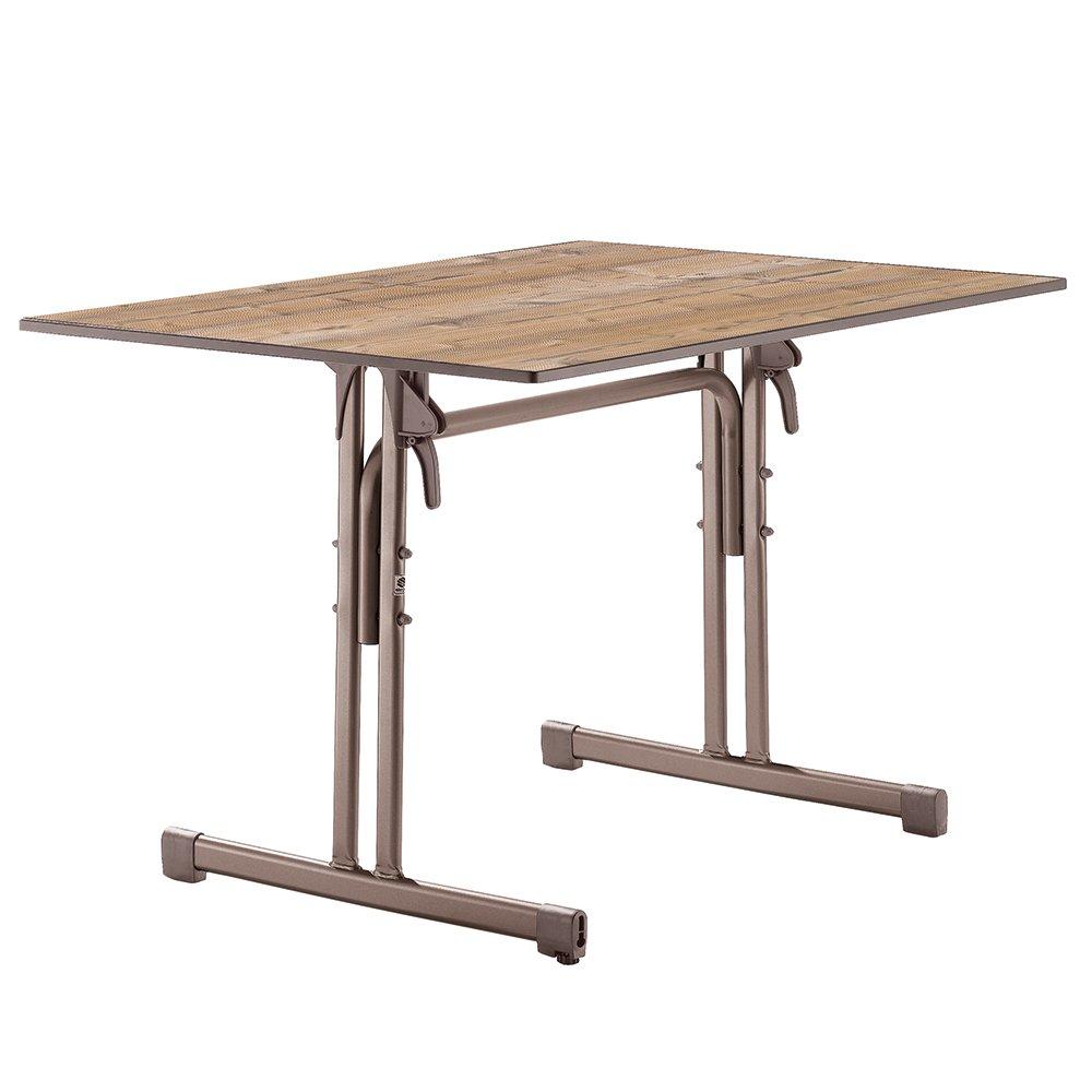 Sieger 1360-75 Boulevard-Tisch mit Puroplan-Platte 120 x 80 cm, Stahlrohrgestell marone, Tischplatte Holzstruktur Fichte jetzt bestellen