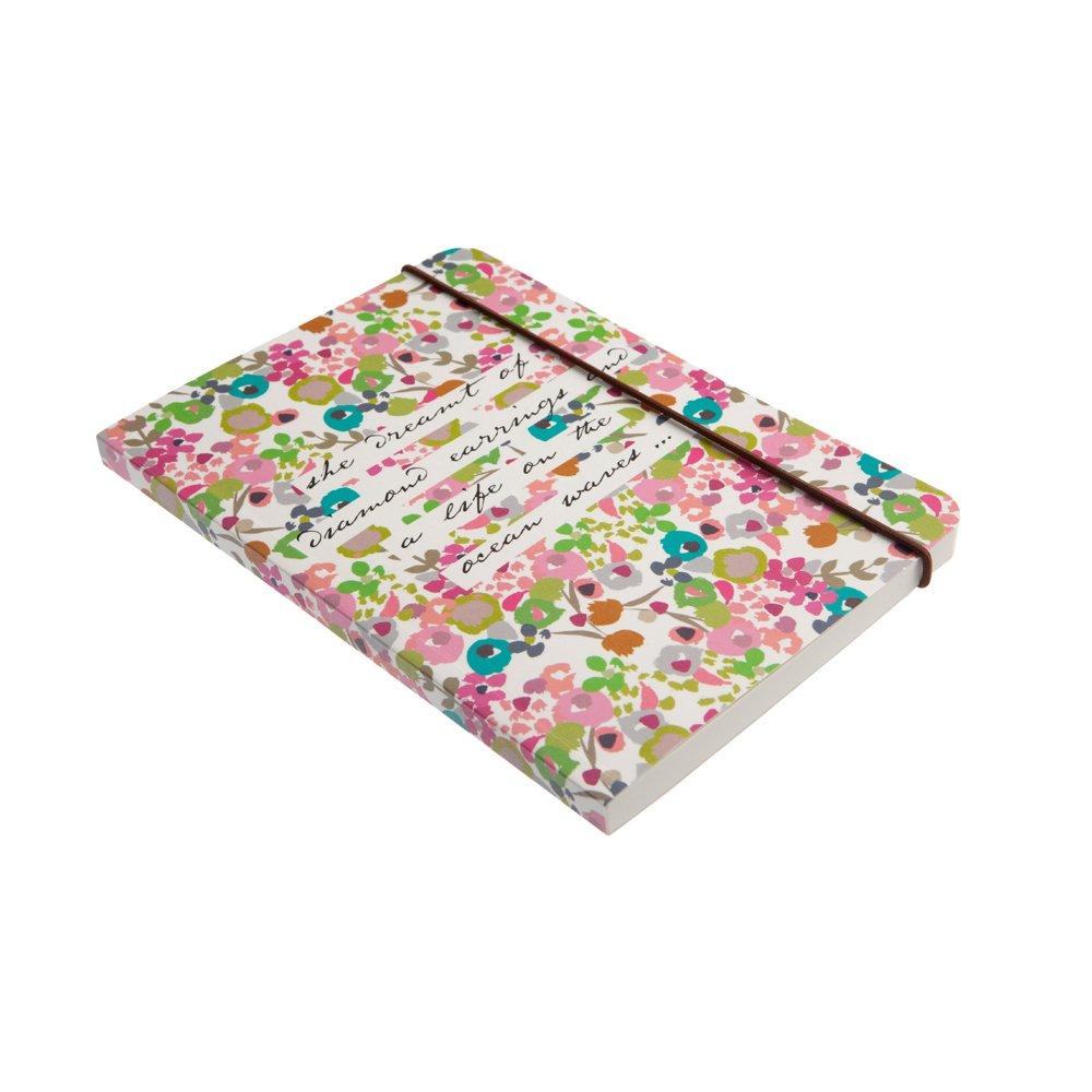 Caroline Gardner Ditsy Flowers Design Print Elastic Closure Mid Notebook
