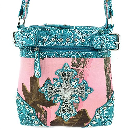 2015 New Style Rhinestone Buckle Concho Concealed Carry Cross Camouflage Leather Shoulder Handbag Purse and Optional Messenger Bag, Wallet in 3 Colors. Turq/pink (kW03 Turq Messenger bag)