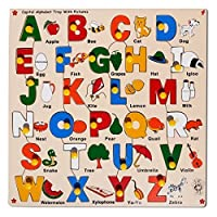 Skillofun Capital Alphabet Tray with Picture with Knobs, Multi Color