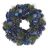 彩か SAIKA リース M 青 ブルー インテリア 玄関飾り エレガンス CXO-114Mb Pine needle & Ball Wreath M Blue