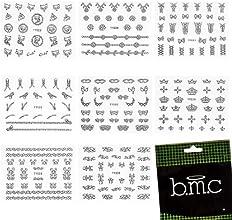 BMC 3D Manicure Nail Art 8 Sheet Stickers Set-Mixed Shapes Crowns Bows Florial Birds Designs, Set 5-SILVER