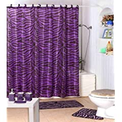Shower Curtain Kids Jungle Safari Purple Zebra Design with Decorative Roller Rings/hooks