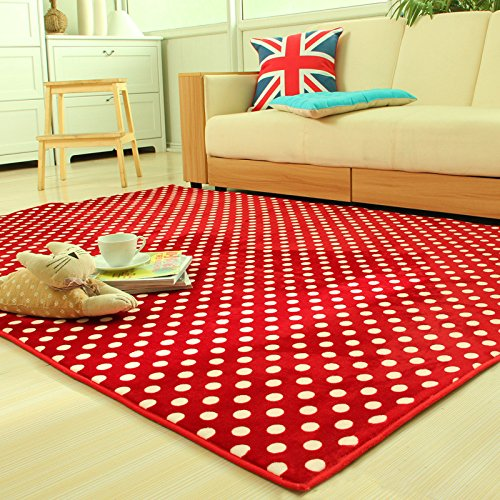 Ustide Red Polka Dots Carpet Coral Fleece Surface Area Rug Memory Foam Tea Table Rug High Quality Durable Thick Carpet 5x7