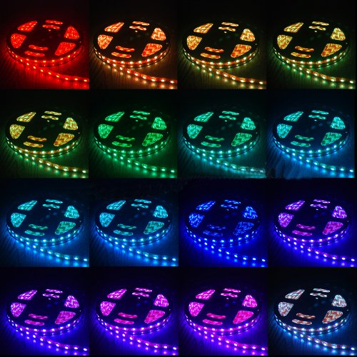 Thg Flexible 150 Smd 5050 Led 16.4 Ft Switchback Rgb Mixed Colors Aircraft Cabin Mood Amusement Theater Lighting Strip Lights