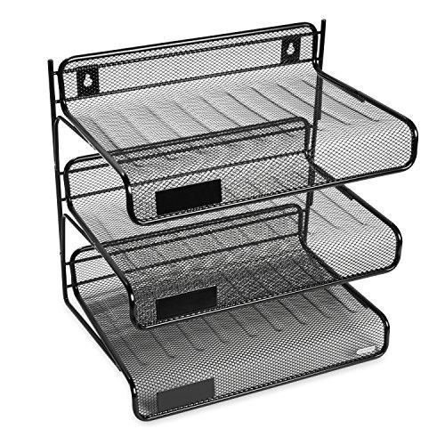 Rolodex Mesh Collection 3-Tier Desk Shelf, Letter-Size, Black