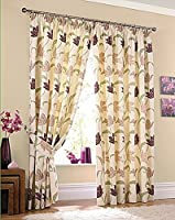 "CORK FLORAL CREAM PURPLE 90"" x 72"" LINED PENCIL PLEAT CURTAINS #ELASNIK from PCJ Supplies"