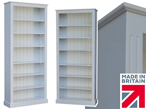 White Painted Bookcase, 7ft x 3ft Solid Wood Adjustable Display Storage Shelving Unit. No M.D.F, No flat packs, No assembly (BK736-P)