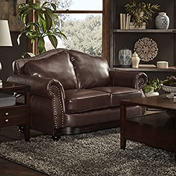 TRIBECCA HOME Myles Traditional Chocolate Bonded Modern Leather Rolled Arm Loveseat