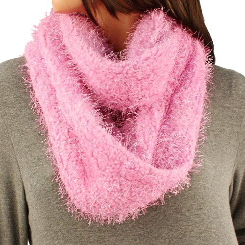 Winter Super Soft Fuzzy Furry Fluffy Knit Circle Loop Infinity Ski Scarf Pink