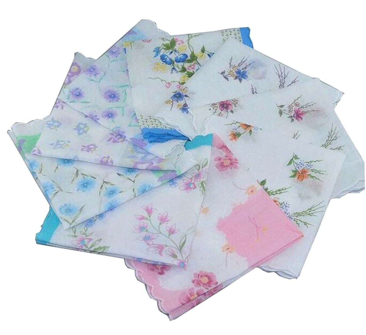 VEBE Womens/Girls Vintage Floral Wedding Party Cotton Handkerchiefs 3