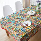 MeMoreCool Exotic National Style Beautiful Floral Design Totem Pattern Rectangular Table Cloth with Red Border Multi-function Dustproof Dining-table Cloth Cover 100% Cotton Cloth Art 47X47Inch