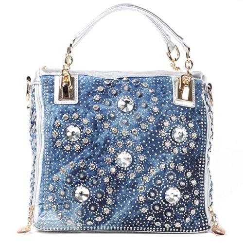 Kaxidy Womens Ladies Girls Denim Bag Top-handle Bags Handbags Satchel School Office Bag (Denim Blue + PU Silver)