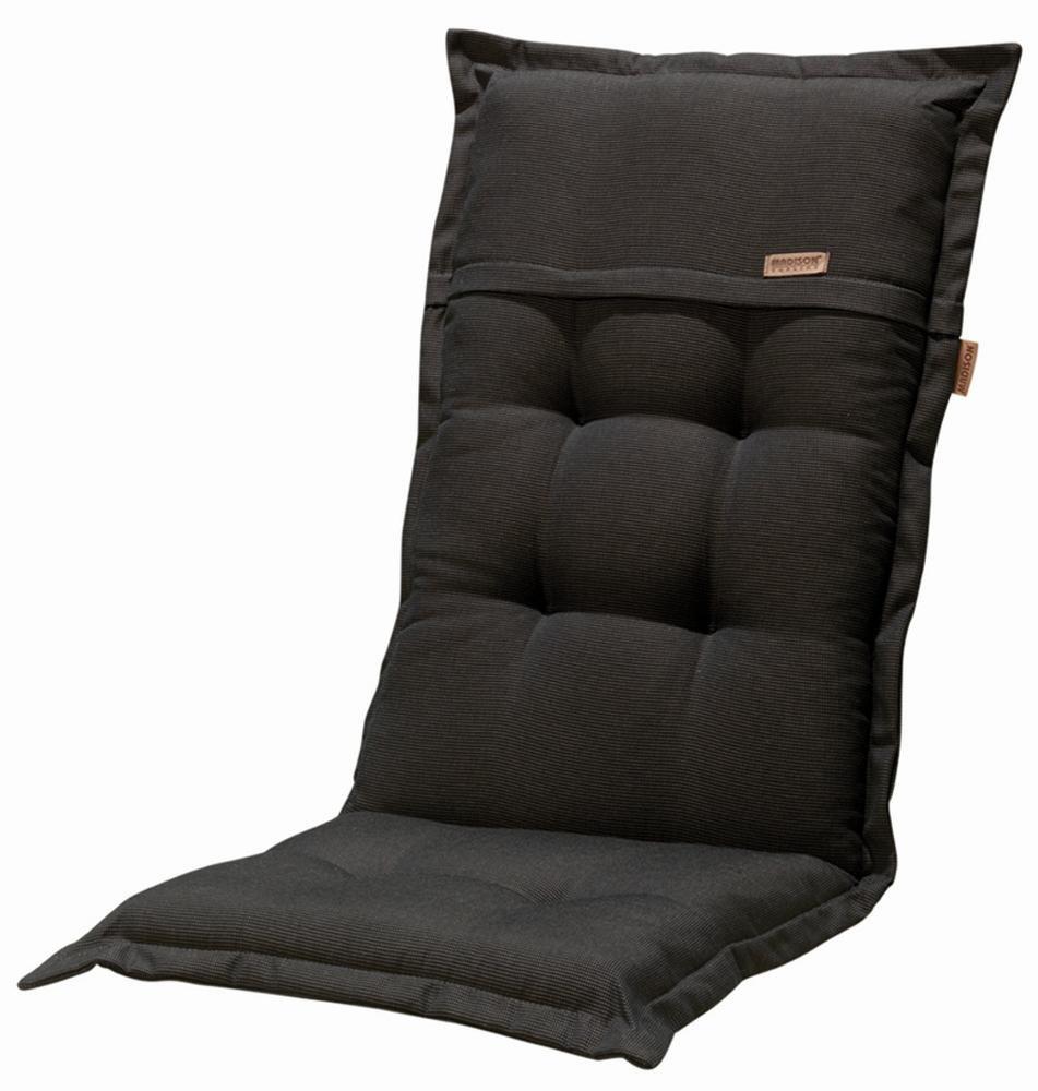 4 Stück MADISON Dessin Rib Hockerauflage, Sitzkissen, Sitzpolster, 100% Polyester, 50 x 50 x 4 cm, in schwarz