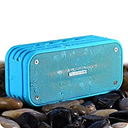 Bluetooth Speakers, Plusinno Ultra Portable Bluetooth 4.0 Waterproof Wireless Speaker with Integrated Siri/Voice Control, Bluetooth Receiver, Built-in Microphone (Blue)