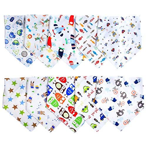 Baby Dreieckstuch Lätzchen Spucktuch mit unterschiedlichen Muster 10er Pack (B) Jungen