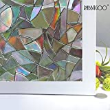 Rabbitgoo 3d No Glue Static Decorative Frosted Privacy Window Films for Glass Self Adhesive Heat Control Anti Uv 2ft X 6.5ft.(60 X 200cm)