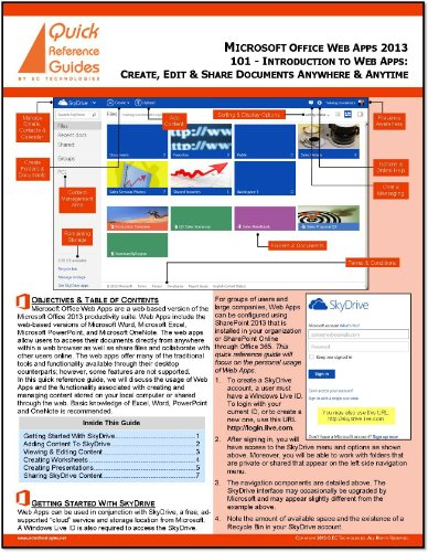 Microsoft Office Web Apps 2013 Quick Reference Guide: An Introduction - Create, Edit & Share Documents Anywhere, Anytime