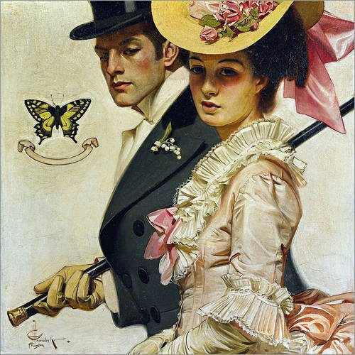 wood-print-90-x-90-cm-couple-in-victorian-fashion-by-joseph-christian-leyendecker