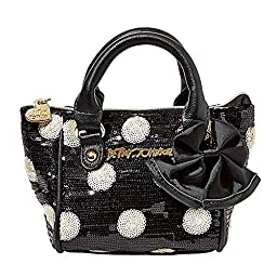 Betsey Johnson Oh Bow Mini Crosbody Purse in Black Dot