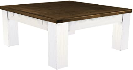 Coffee Table Pine Solid Wood Table 90 x 90 cm, White / Antique Oak