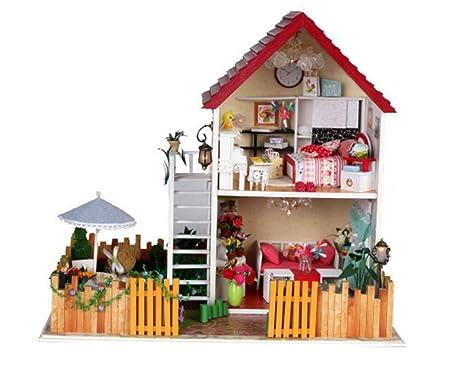 Maison De PoupéesPetit yard Doll House Mini maison meubles Kit décoration maison LED Handcraft en bois poupées salle cadeaux