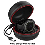 Gear S3 Charger Holder, Charging Stand Dock Cradle Case Accessaries, Portable Travel Carrying EVA Protective Docking Station for Samsung Gear S3 Frontier Classic Watch, Black (Color: black)