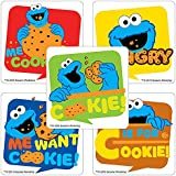 Sesame Street Cookie Monster Stickers - Birthday and Theme Party Favors - 75 per Pack