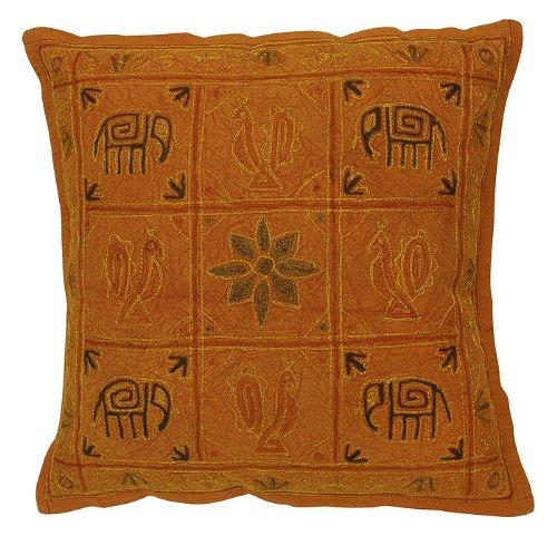 Imagen 2 de Cojín de diseño Elefante hecho a mano cubre con Zari y bordado Tamaño trabajar 16 x 16 pulgadas Juego de 2 piezas