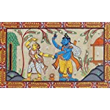 "Dolls Of India ""Abduction Of Sita By Ravana"" Orissa Paata Painting On Tussar Silk - Unframed (29.21 X 19.05 Centimeters..."