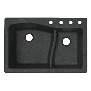 Swaoi|#Swanstone QZ03322LS.077-4 22-In X 33-In Granite Kitchen Sink 4-Hole, Nero,