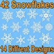 42 Elegant Snowflake Window Clings - Quick and Simple Christmas Decorations - Glueless PVC Stickers