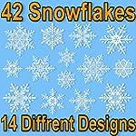 42 Elegant Snowflake Window Clings -...