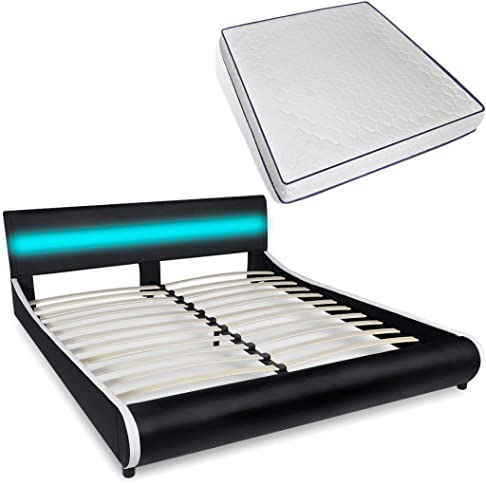 Festnight - Letto in Pelle Artificiale con Testiera LED 180 cm+Materasso Viscoelastico